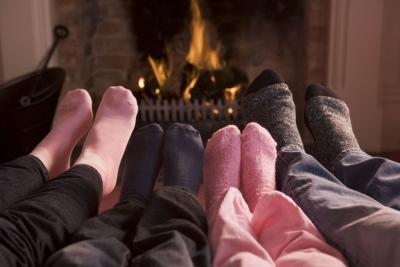 Warm feet in wooly socks