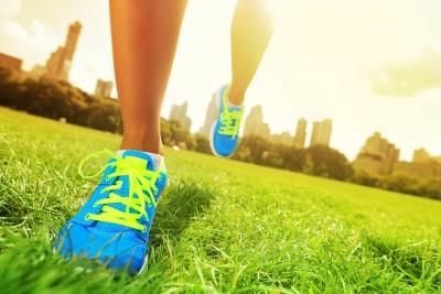 Woman's feet running